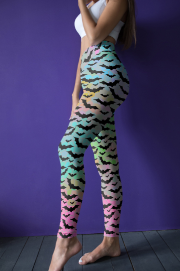 Colorful Bat leggings, Capris and Shorts
