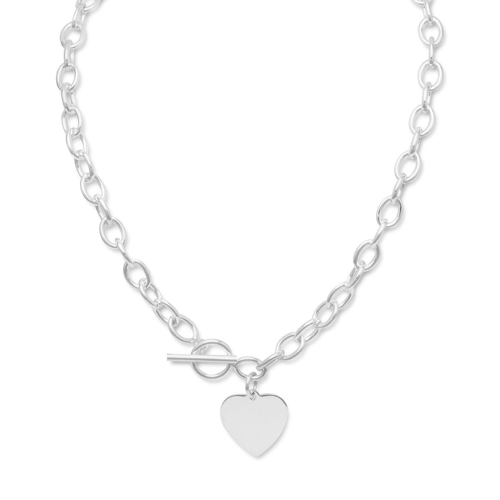 "17"" Toggle Necklace with Heart Tag"