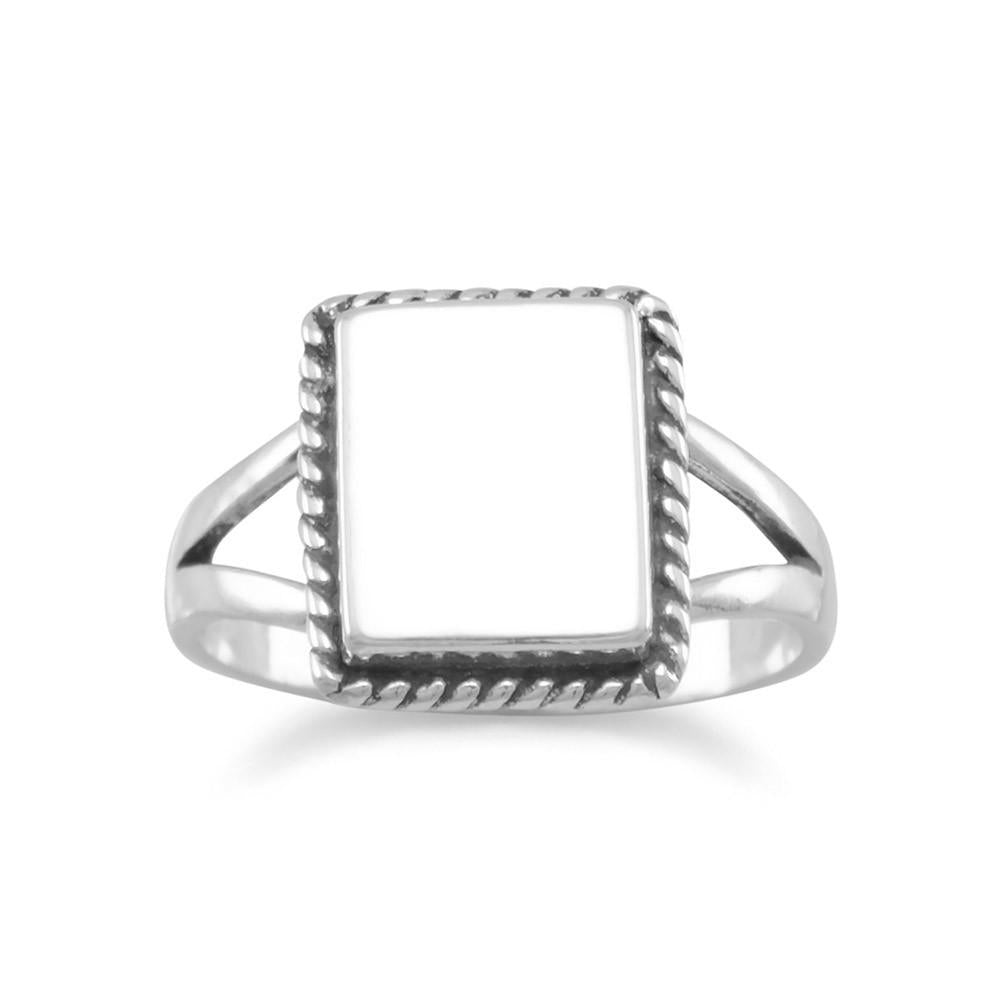 Square ID Ring with Rope Edge
