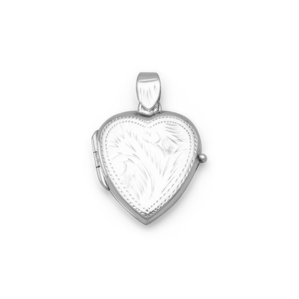 Small Etched Heart Locket
