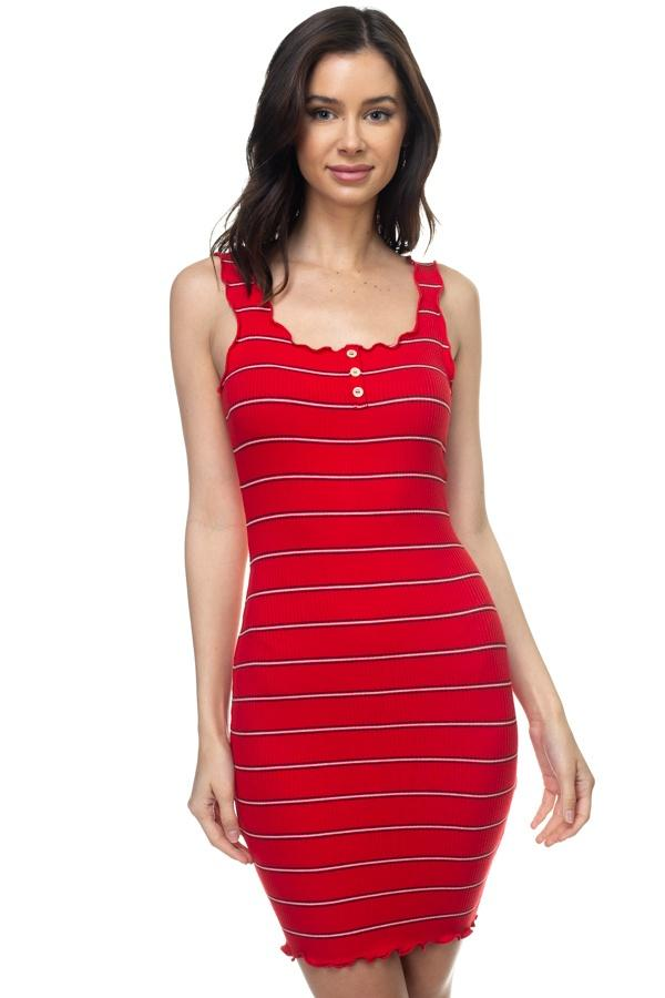 Red Striped Bodycon Ribbed Mini Dress