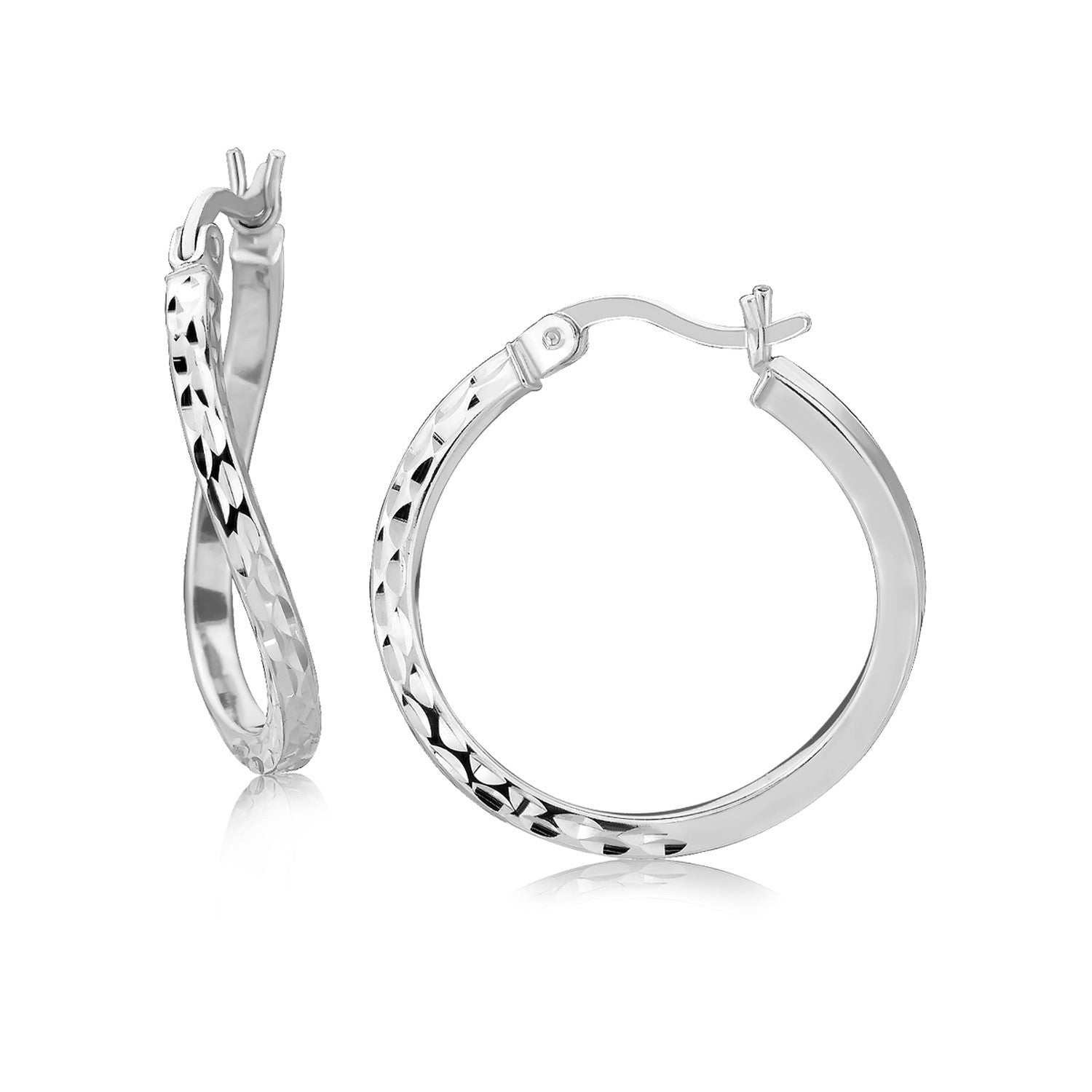 Sterling Silver Rhodium Plated Twist Style Hoop Diamond Cut Earrings (20mm)