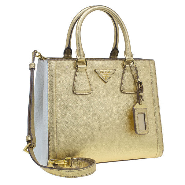 Prada Woman Handbag Metallic Gold