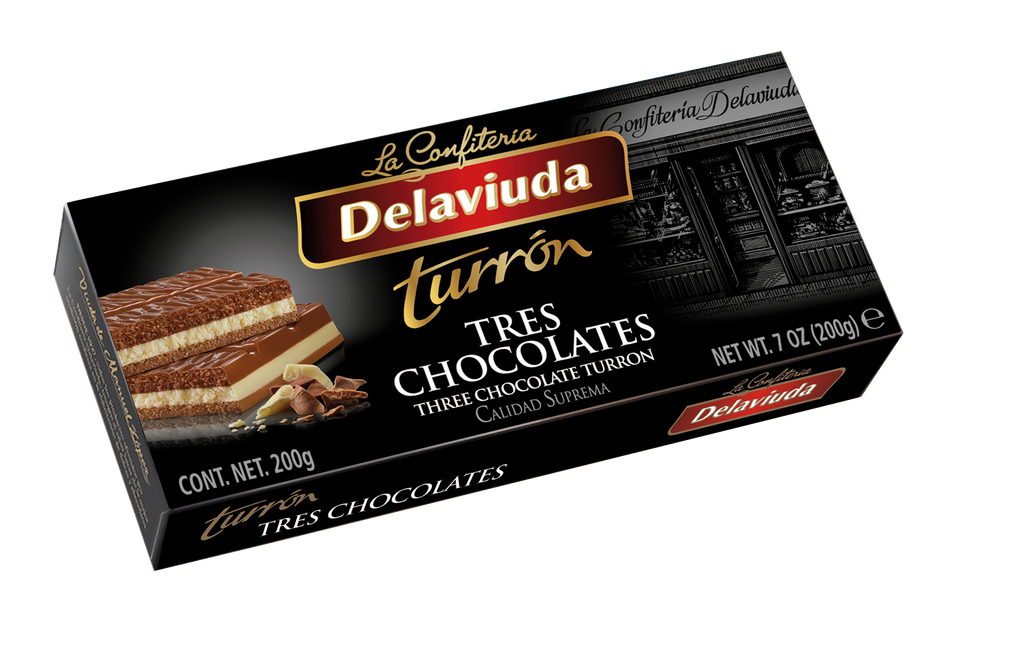 Delaviuda  Three Chocolates Turron 200 g