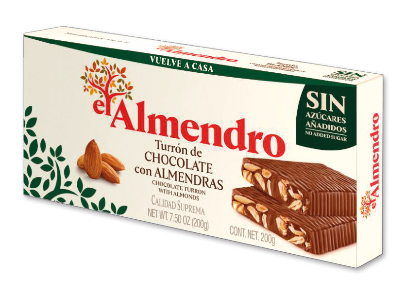 El Almendro No Sugar Added Chocolate Turron With Almonds 200 g