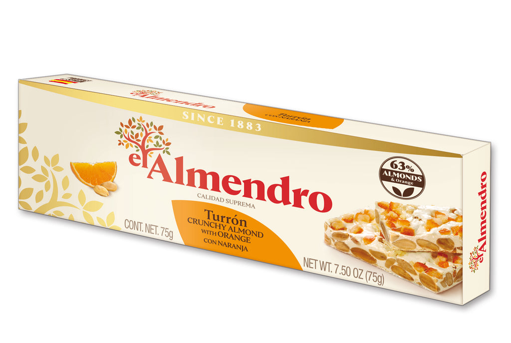 El Almendro Crunchy Almond Turron With Orange 75 g