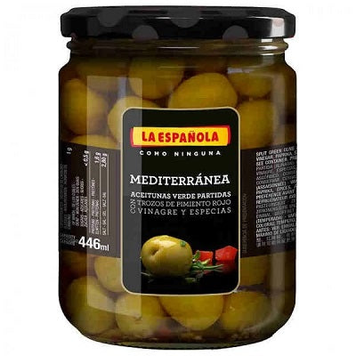 La Española Spanish Split And Seasoned Green Olives Mediterranea 446 ml