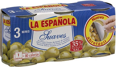 La Española Anchovy Stuffed Olives, 35% Less Salt (3 x 50 g)