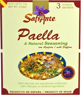 Safrante Paella / Natural Saffron Seasoning 3 x 4 g Envelopes