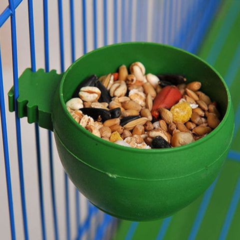5pcs Plastic Round Bird Parrot Aviary Pet Cage Water Food Feeder Feeding Bowl