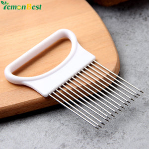 1Pcs Household Kitchen Gadget Tools Stainless Steel Onion Slicer Fruit Tomato Vegetable Cutter Onion Aid Guide Holder Cutter