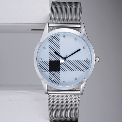 Silver Mesh Belt Watch Classic Quartz Stainless Steel Wrist Watch