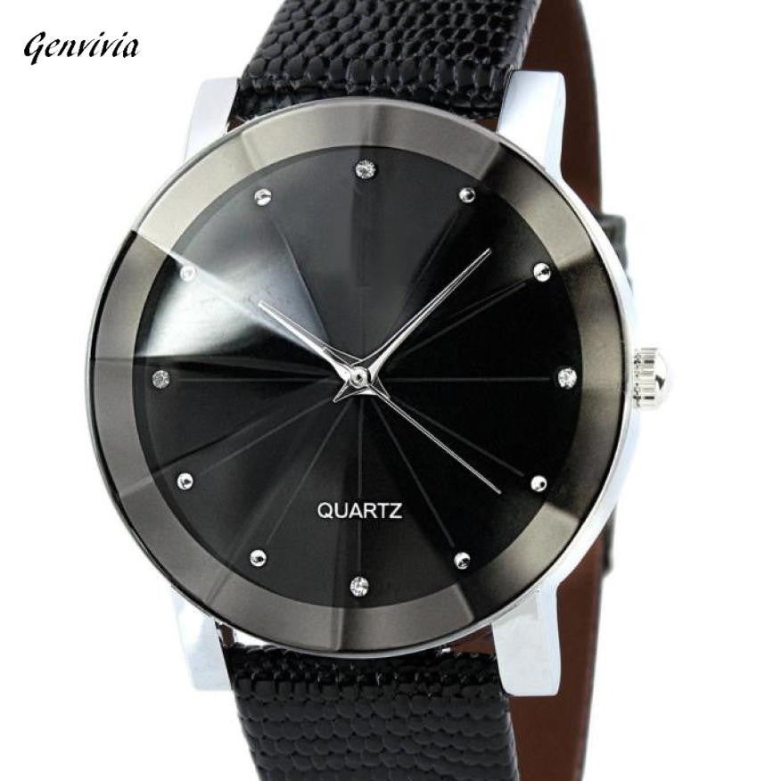 Military Stainless Steel Dial Business Leather Band Wrist Watch Men
