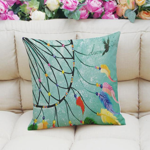 Feather Printing Dyeing Sofa Bed Home Decor Pillow Case Cushion Cover