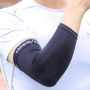 Basketball Arm Warmers Ultrathin Breathable Lengthen Armguards Sports Elbow Men's Arm warmers  Fitness Armguards Elbowpad Black