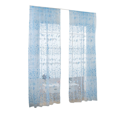 Floral Tulle Window Sheer Rod Pocket Voile Curtains for Bedroom Living Room 100x200cm
