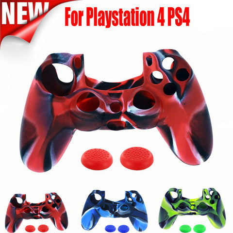 1PC Silicone Case Cover +2PC Rocker Cap For Playstation PS4 Controller