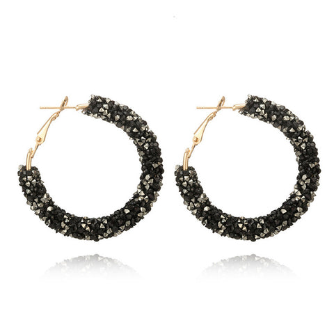 Personality Shiny Crystal Hoop Earring Fashion All-match Geometric Big Round Ear