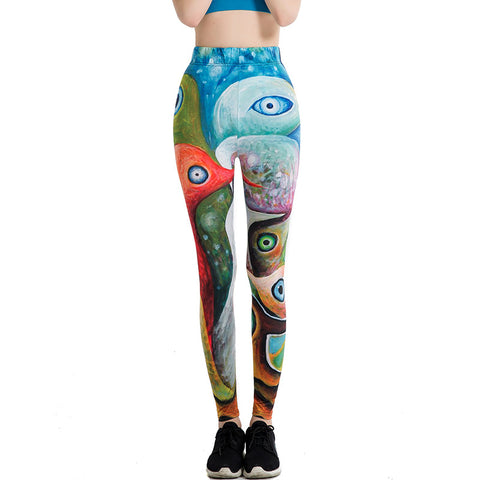 Printed thin pencil underpants stretch pants for women's yoga pants.one size