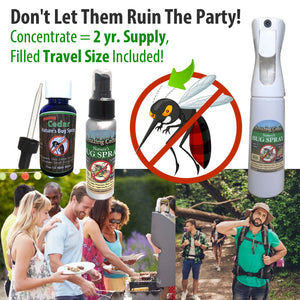 Amazing Cedar All Natural Mosquito Bug Spray Kit For Kids, Pets, Whole Family-Refill Concentrate