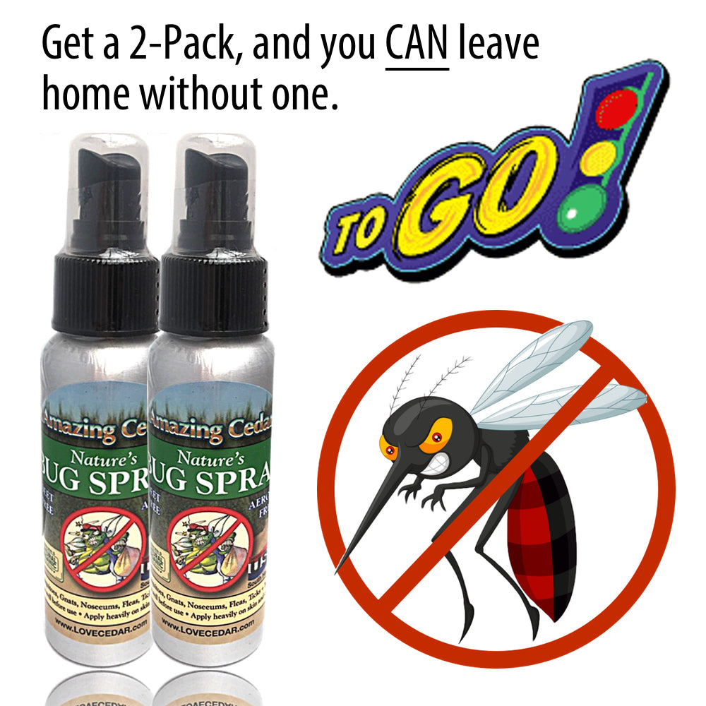 Amazing Cedar™ All Natural Mosquito Bug Spray For Kids, Pets, Whole Family-Go Anywhere Travel Bottles