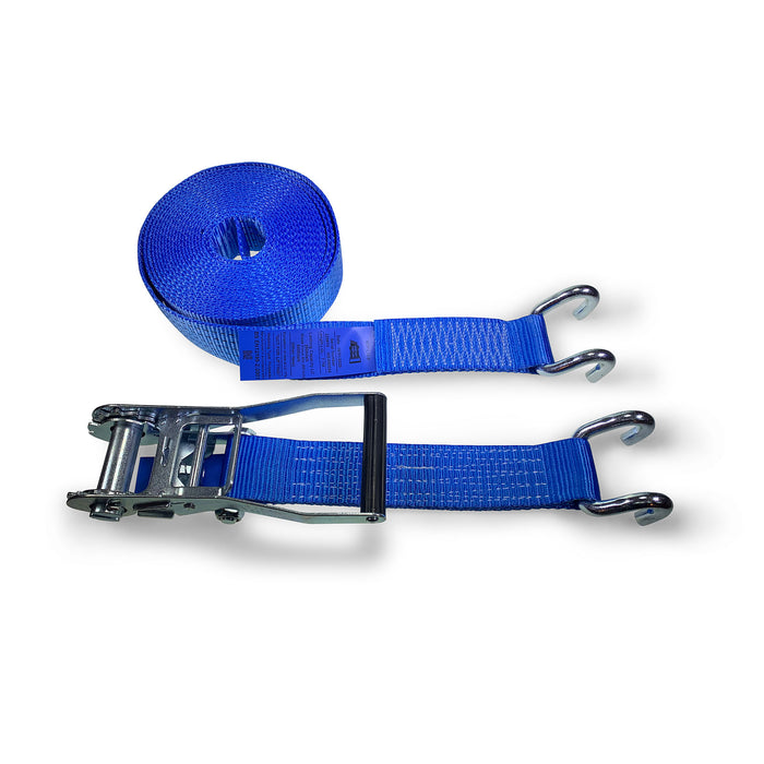 50mm 5000kg Ratchet Strap with Chassis Hooks - 12 METRES