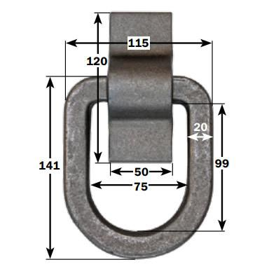 Weld On Lashing Link with Cleat 5000kg , Lashing Rings & Anchor Points - Nationwide Trailer Parts, Nationwide Trailer Parts Ltd - 2