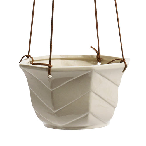 Cream Chevron Hanging Pot
