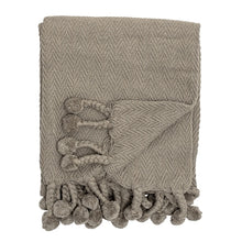 Taupe Pom Pom Throw