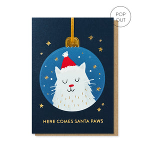 Here Comes Santa Paws Christmas Card Pop Out Bauble