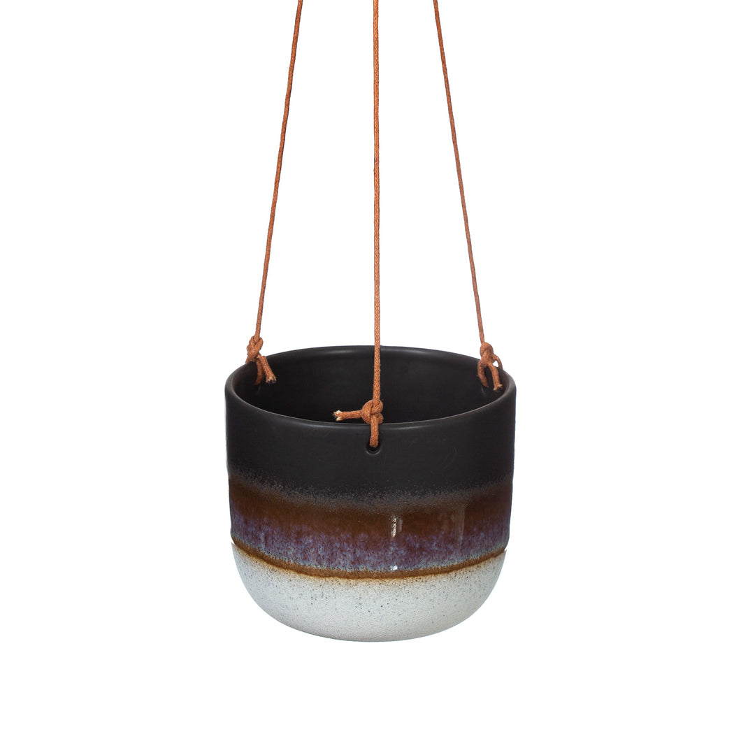Black glaze hanging planter