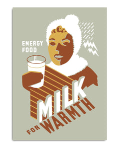 Milk for Warmth Vintage Poster