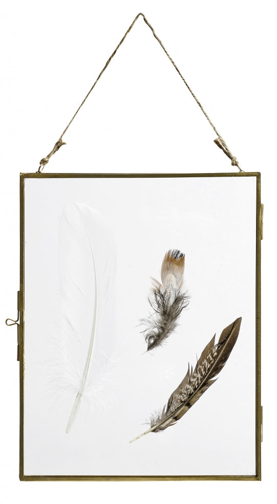 Hanging glass frame - brass