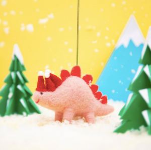 Christmas Stegosaurus Felt Hanging Decoration