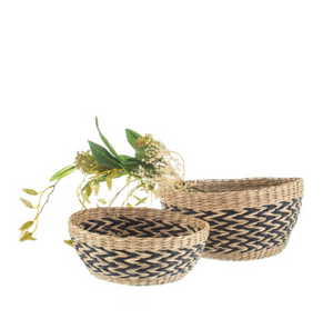 Set of two seagrass decorative bowls