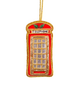 Embroidered Telephone Box Christmas Decoration