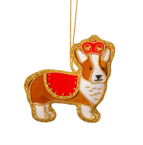 Embroidered Royal Corgi Christmas Decoration