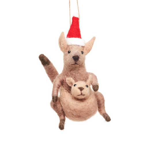 Mum and Baby Kangaroo Felt Hanging Decoration