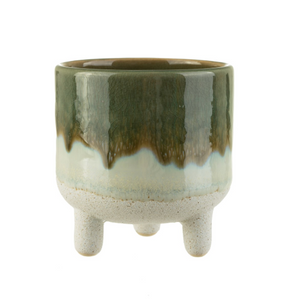Green Glaze Mini Tripod Pot