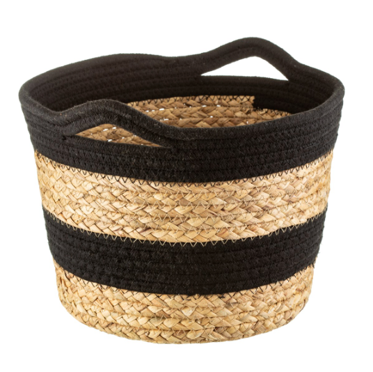 Seagrass and Black Rope Stripe Basket
