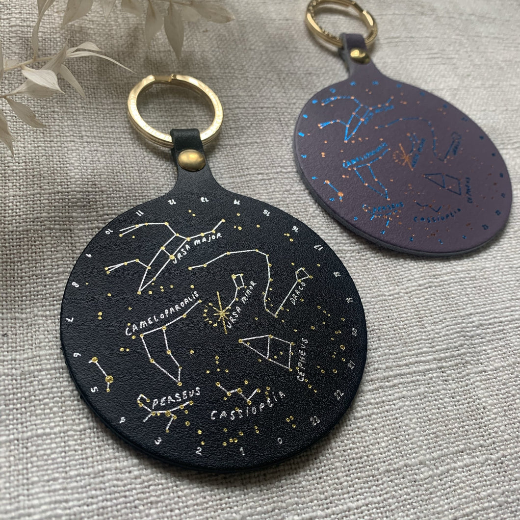 Leather Constellation Key Ring