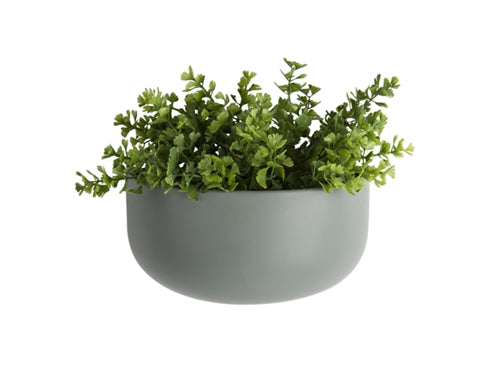 Oval wall pot matt green