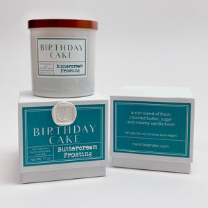 Teal Birthday cake candle, buttercream frosting