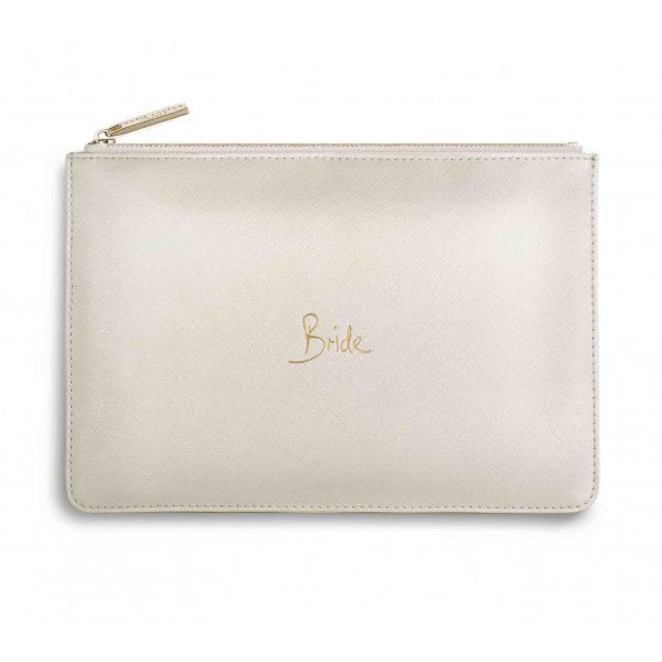 KATIE LOXTON PERFECT POUCH - BRIDE - METALLIC WHITE
