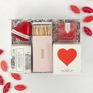 Brooklyn candle studio xoxo matches and large love potion candle, sugarfina sugar lips gummies