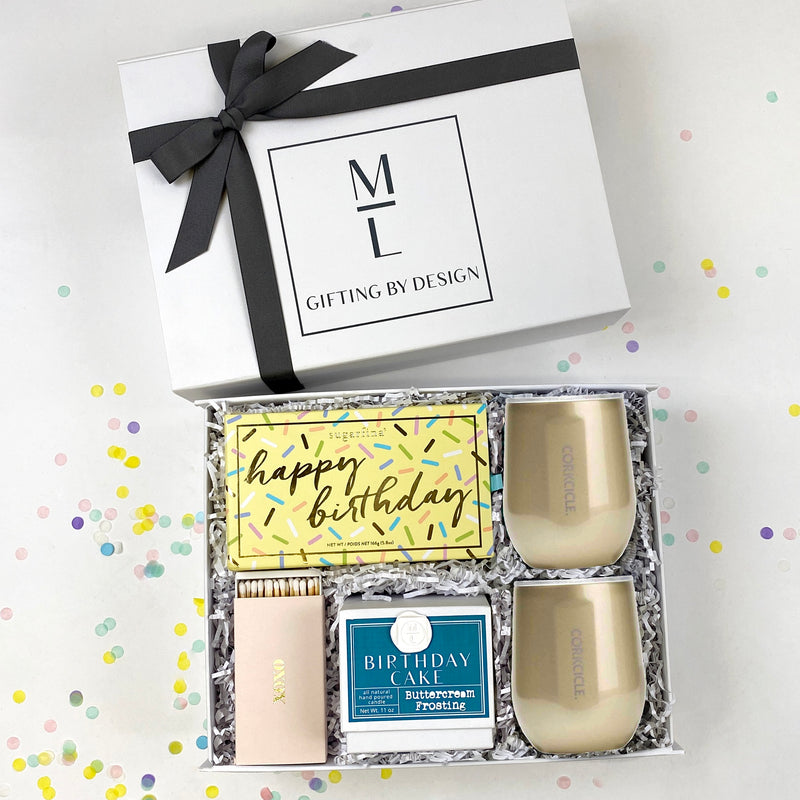 Katie Loxton champagne please candle, sugarfina birthday cake caramels, ice cream cone gummies