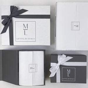 mint-lavender gift boxes with ribbon