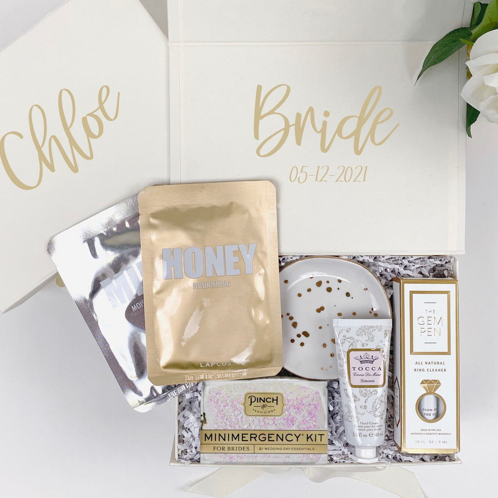 mint-lavender customized ivory bride gift box