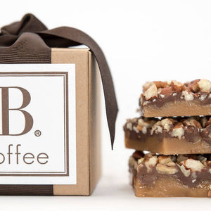 b.toffe dark chocolate and roasted pecans toffee with dark brown ribbon