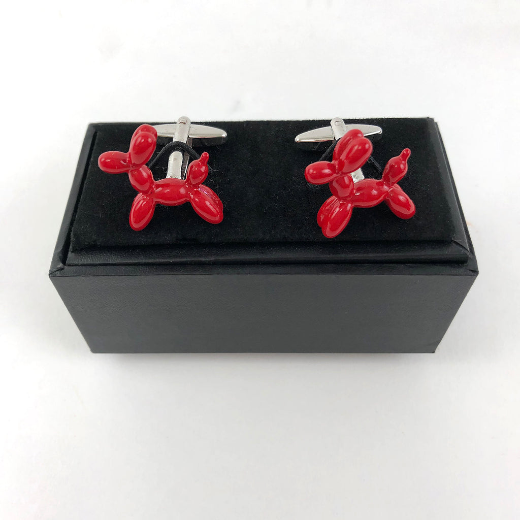 MINT-LAVENDER CUFFLINKS - RED BALLOON DOG